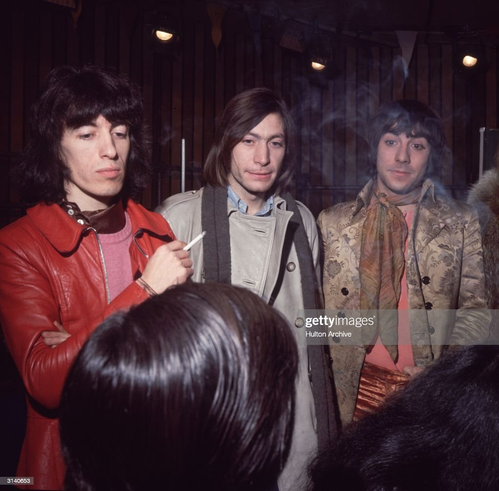 Keith Moon (1947-1978) of the Who with Charlie Watts and Bill Wyman of the Rolling Stones at the Internel Studios in Stonebridge Park, Wembley, for the filming of the Rolling Stones' Rock and Roll Circus.