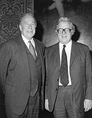 The US Secretary of State George Shultz with Sir Geoffrey Howe the British Foreign Secretary at a meeting in the Foreign Office
