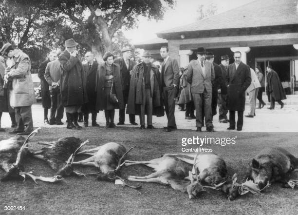 Spanish leader General Francisco Franco views the spoils of a hunting party near Madrid attended by some of his ministers friends and family In the...