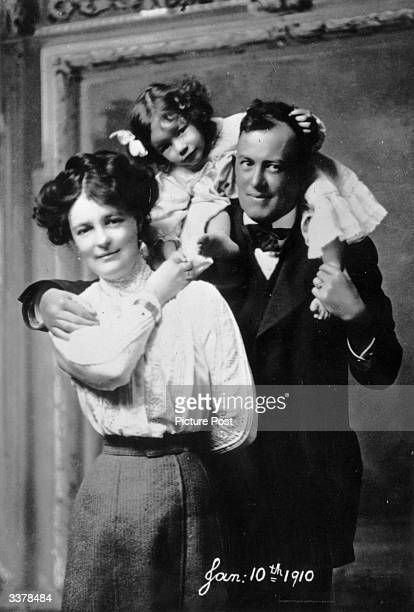 English author and occultist Aleister Crowley with his first wife clergyman's daughter Rose Kelly and their child Original Publication Picture Post...