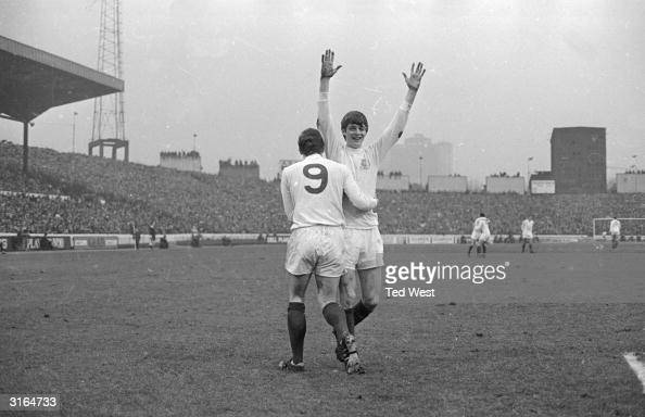 Leeds United forward Mick Jones congratulating Allan Clarke after his goal gave Leeds United the lead in the first division match at Stamford Bridge...
