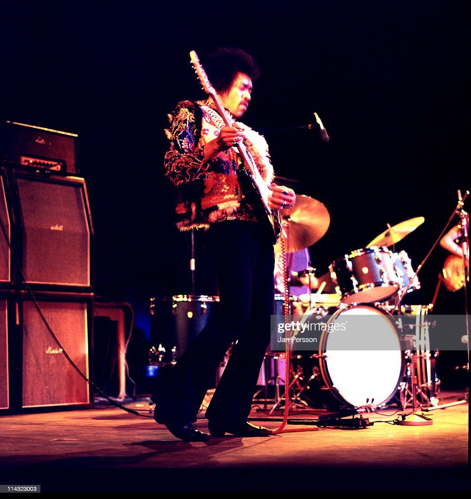 Jimi Hendrix performs live on stage at Falkoner Centret in Copenhagen Denmark on 10th January 1969