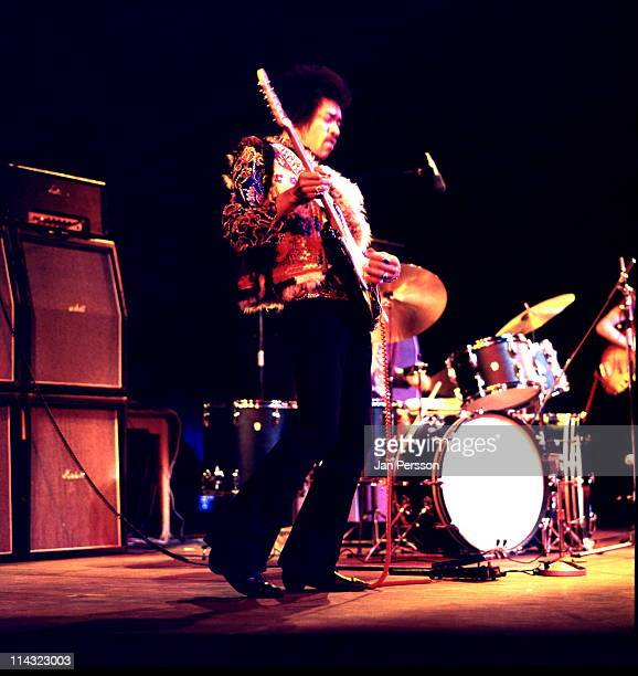 Jimi Hendrix performs live on stage at Falkoner Centret in Copenhagen Denmark on 10th January 1969