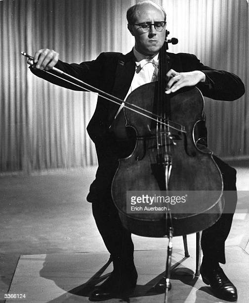 Russian cellist pianist and conductor Mstislav Rostropovich playing the cello