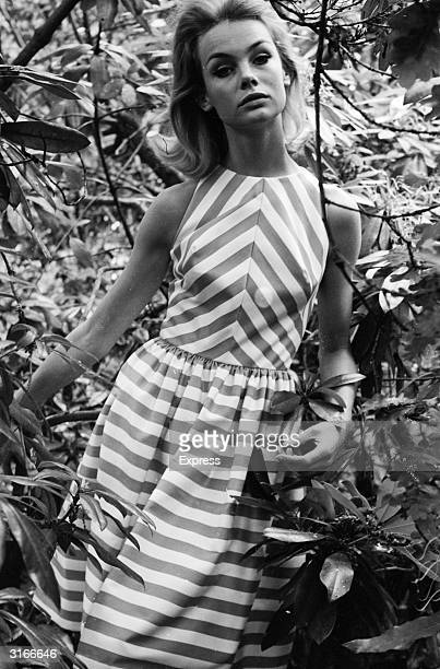 English fashion model Jean Shrimpton displays a bold striped sundress against a background of foliage
