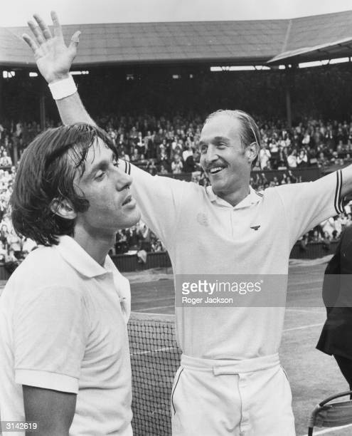 American Stan Smith raises his arms in triumph after beating Ilie Nastase of Romania in the men's singles final at Wimbledon Smith won 46 63 63 46 75