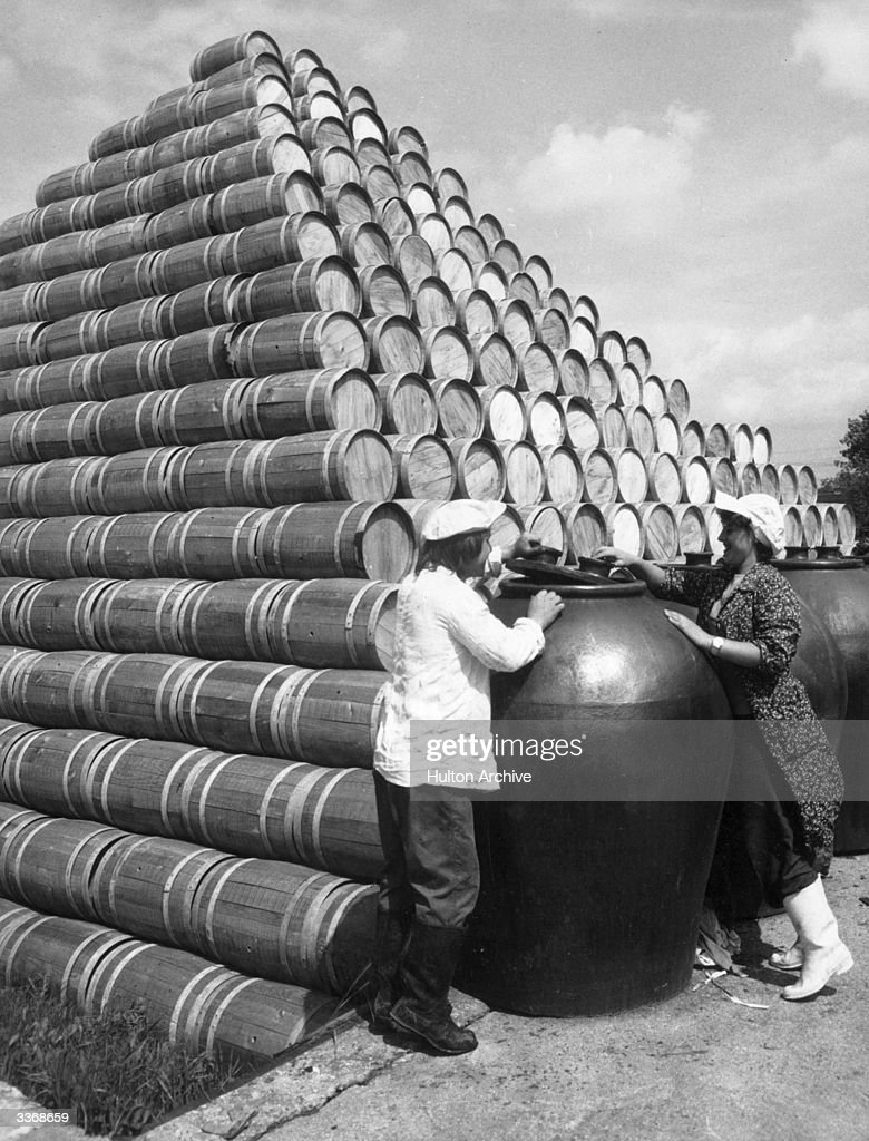 A large stack of strawberry barrels at the fruit and vegetable processing factory in Eilblag province, Poland.