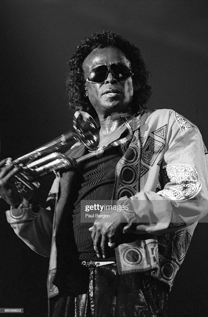 American jazz musician and composer Miles Davis (1926-1991) performs live on stage at the North Sea Jazz Festival in The Hague, Netherlands on 10th July 1989.