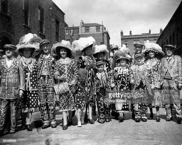 London's Pearly Kings and Queens attend the biggest parade of the year meeting on the Old Kent Road for the annual service at St mary Magdalene's...