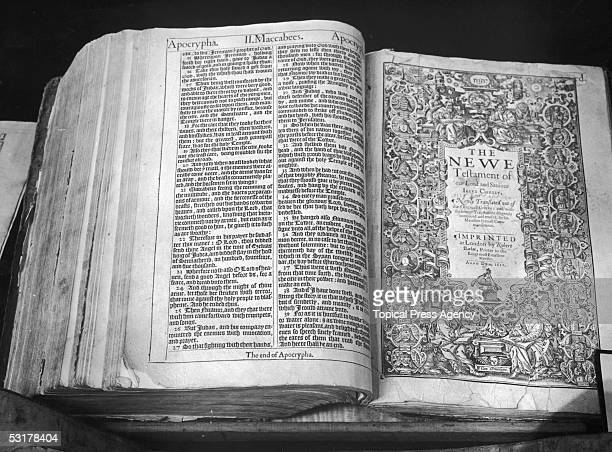 The first issue of the first edition of the 'Authorised Version' of the English Bible printed in London in 1611 by Robert Barker Commissioned by King...