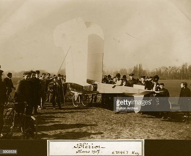A Bleriot V monoplane with folded wings surrounded by onlookers Aeroplane Album Vol 1 Page 69