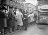 South Londoners queue for buses at London Bridge during the tram strike called by drivers and conductors at Streatham and Clapham