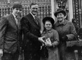 Leeds United and England manager Don Revie with his son Don daughter Kim and wife Elsie at Buckingham Palace after receiving the OBE