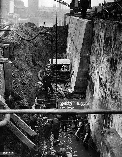 Canal wall construction during widening of Grand Union Canal at Stratford in East London