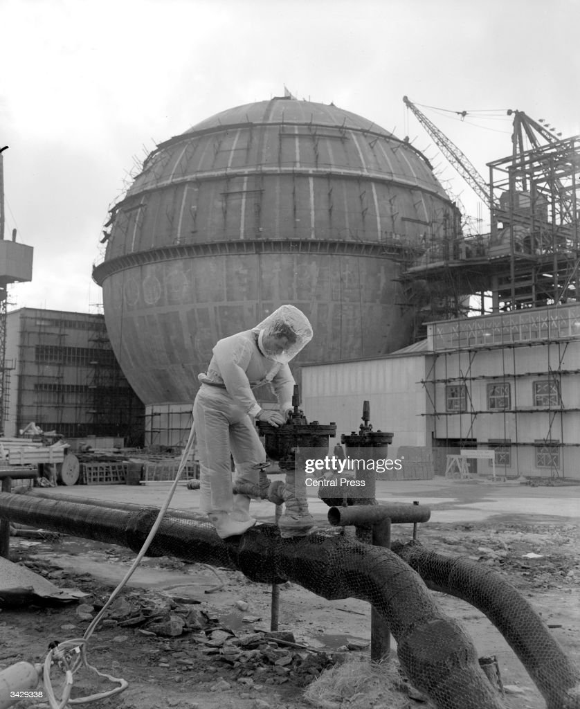 Safety foreman Leslie Jones of Thurse wearing a pressurised plastic outfit at the Dounreay atomic power plant in northern Scotland, which is to become one of the world's most important centres for practical nuclear research.