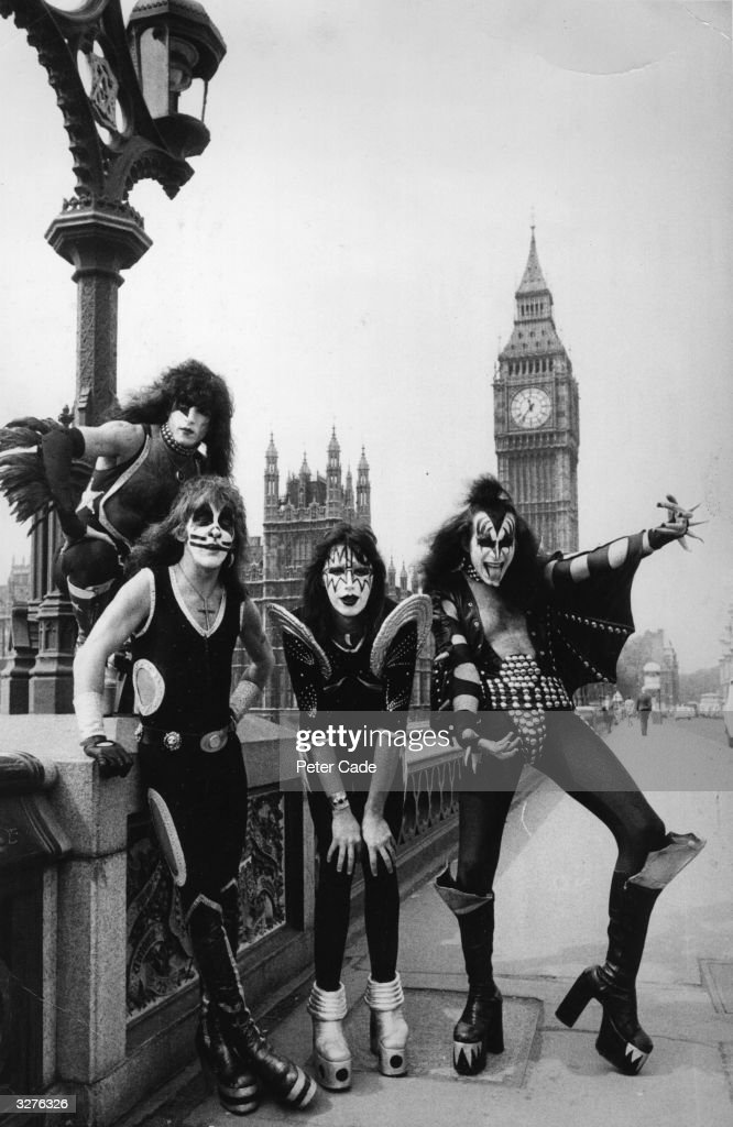 American theatrical glam rock group Kiss pose on Westminster Bridge in London at the start of their first ever European tour. The band members are, from left to right; Paul Stanley, Peter Criss, Ace Frehley and Gene Simmons.