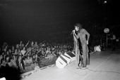 lead singer Steven Tyler from Aerosmith performs live on stage at Madison Square Garden in New York on 10th May 1976
