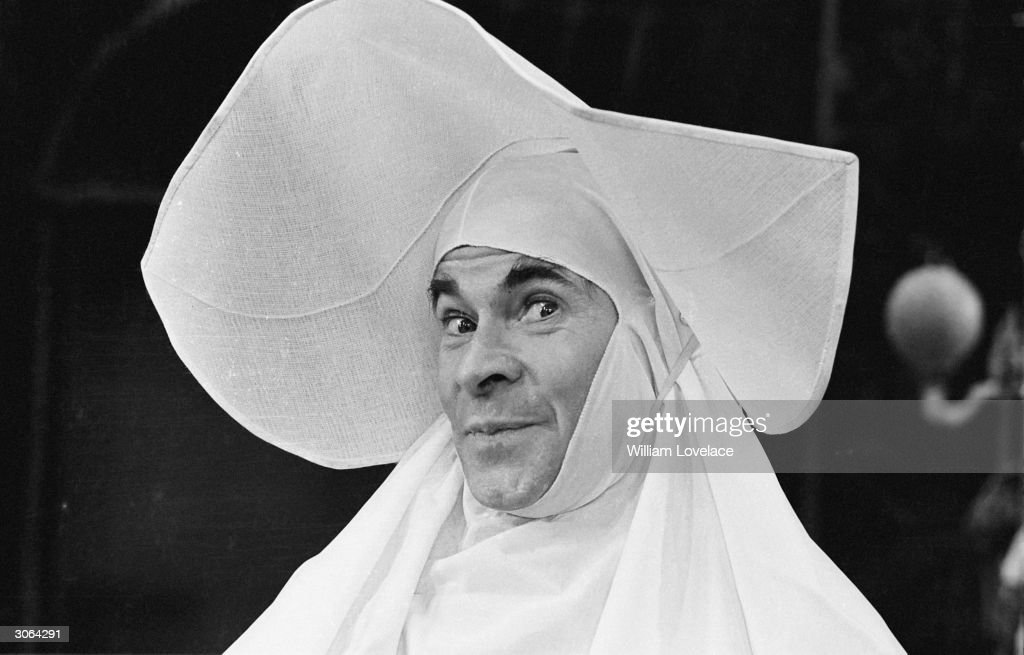 Comedian and impersonator Stanley Baxter as a nun in his show 'Phil The Fluter' in which he has eight different character appearances.