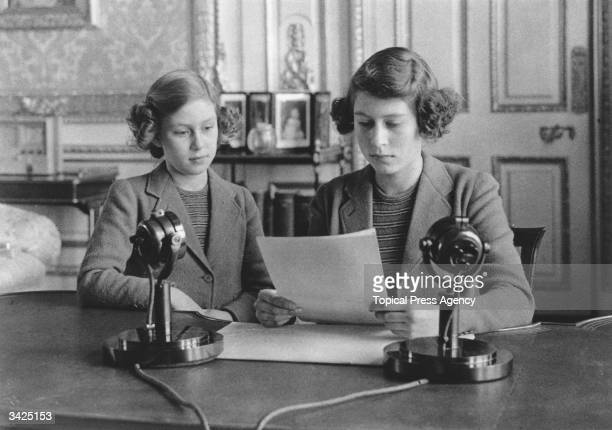 Princesses Elizabeth and Margaret making a broadcast to the children of the Empire during World War II