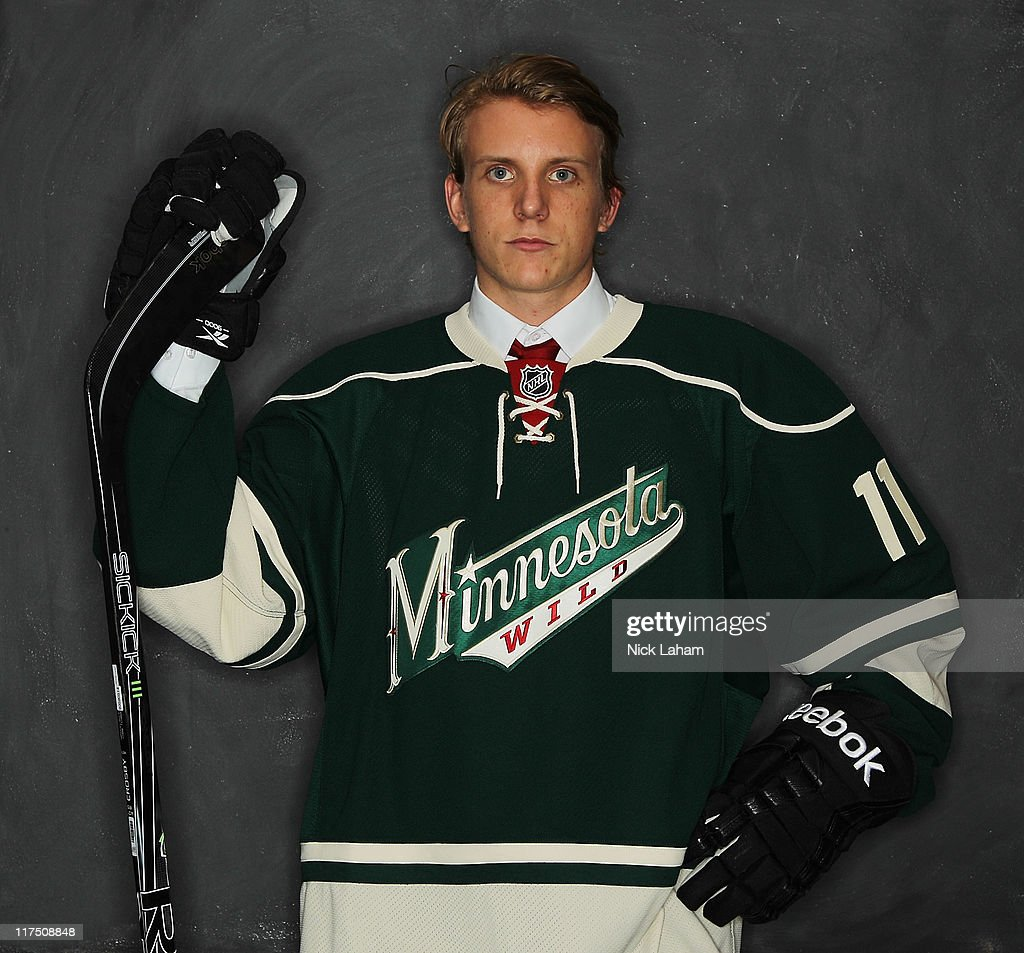 10th overall pick Jonas Brodin by the Minnesota Wild poses for a portrait during day one of the 2011 NHL Entry Draft at Xcel Energy Center on June 24, 2011 in St Paul, Minnesota.