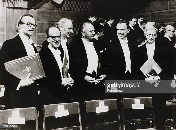 10th September 1962 A picture of the six Nobel Prize winners together in the Concert Hall after having received their awards Left to Right are Dr...