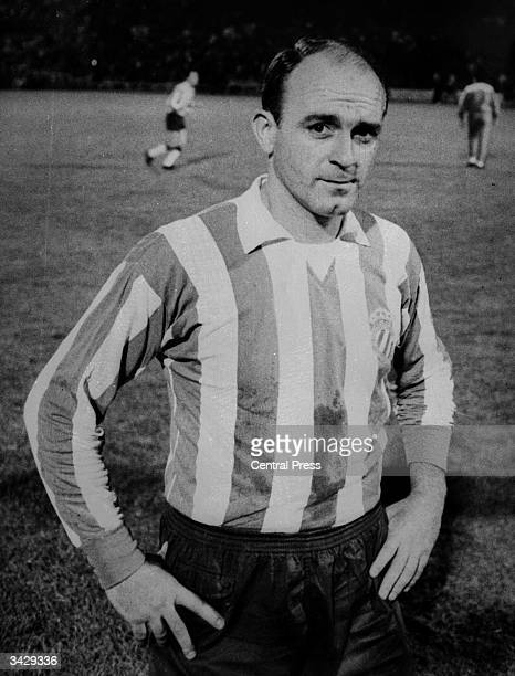 Argentinian born Spanish footballer Alfredo Di Stefano makes his first appearance for Espanol of Barcelona against Olympique of Lyon