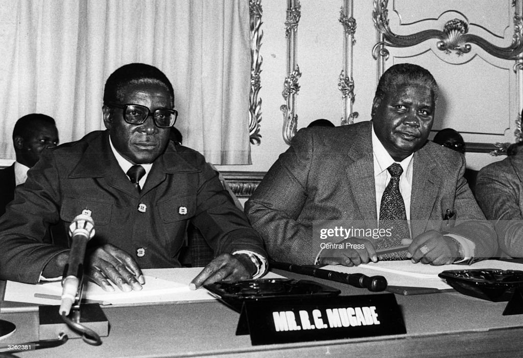 The Constitutional Conference on the future of ZimbabweRhodesia attended by Leaders of the Patriotic Front Robert Mugabe and Joshua Nkomo at...