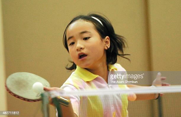 10yearold Mima Ito competes in the All Japan Table Tennis Championships Shizuoka Prefecture Qualifier on October 24 2010 in Hamamatsu Shizuoka Japan