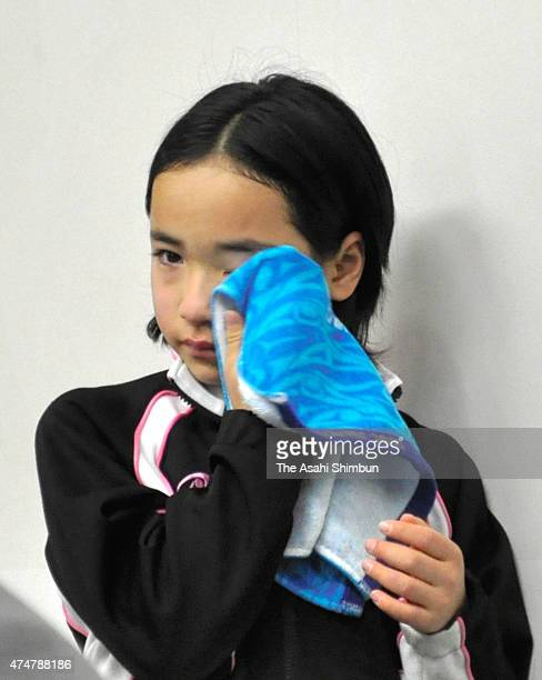 10yearold Mima Ito sheds tear after losing in her Women's Singles second round match in the day three of the All Japan Table Tennis Championships at...