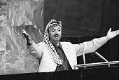 New York NY Yasser Arafat throws out his arms to make a point during his address to the United Nations General Assembly The PLO leader said 'I have...