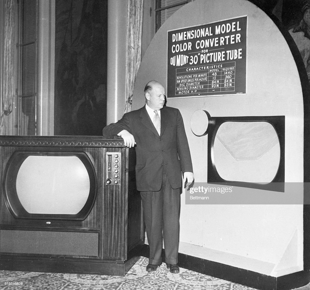 New York NY Dr Allen B Du Mont displays the sixfoot wheel which would be required to receive currently authorized color signals on the new 30inch...