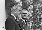 Washington DC President Johnson and General William C Westmoreland walk through the White House Rose Garden Nov 16th on their way to the East Room...