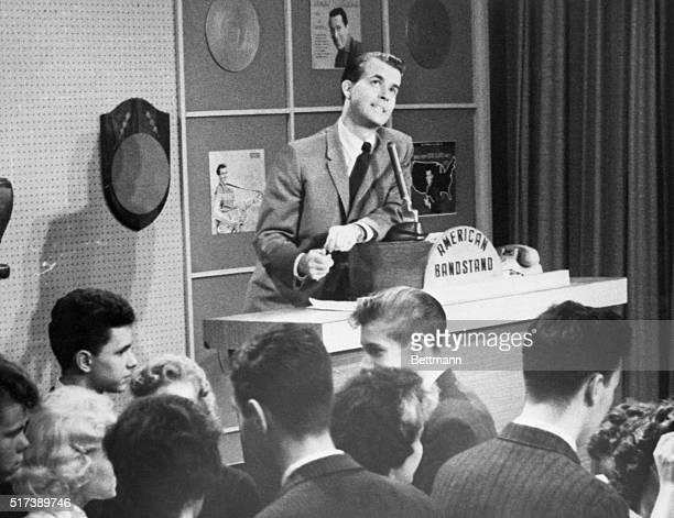 Disc jockey Dick Clark photographed during his 'American Bandstand' TV show