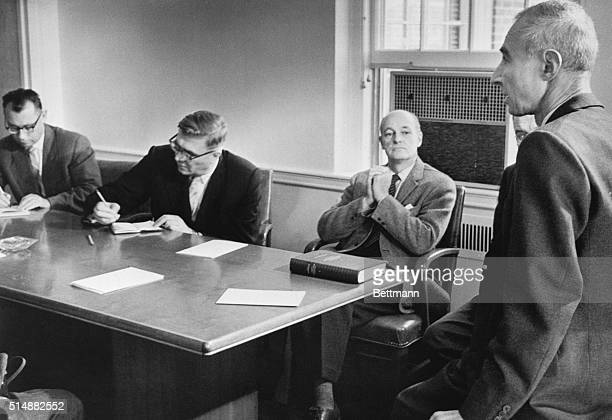 11/20/58Princeton New Jersey Dr J Robert Oppenheimer Director of the Institute for Advanced Studies here confers in his office Nov 20th with nine...