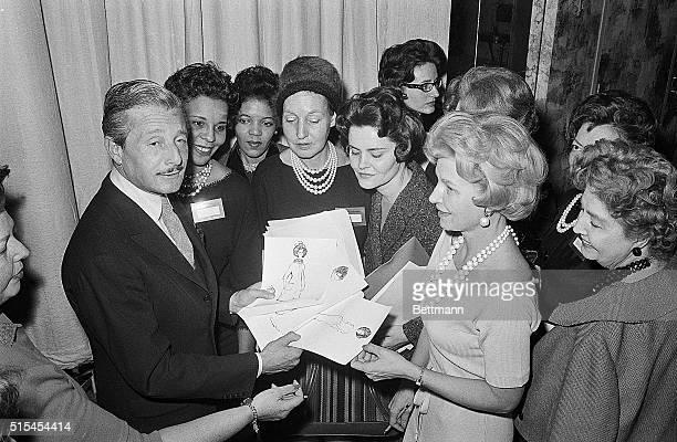 1/12/1961New York New York Oleg Cassini Mrs John F Kennedy's personal designer talks to a group of fashion editors at the Hotel Pierre Cassini showed...