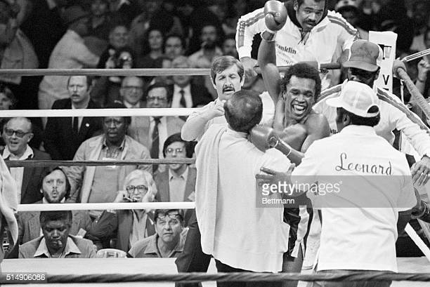 New Orleans LA Sugar Ray Leonard leans over and sticks his chin out taunting Roberto Duran to hit him during the middle rounds of the fight 11/25