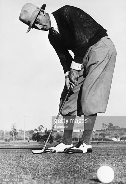 1/15/1929Los Angeles CA Tommy Armour former National Open Champion putting on the green at the Riviera Country Club on the second day of the $10000...