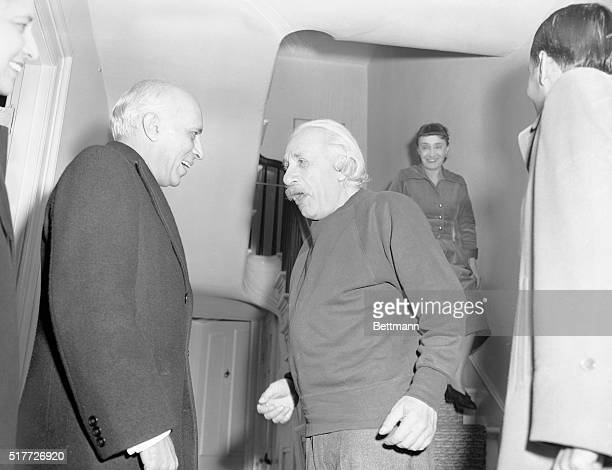 11/5/1949Princeton NJ India's visiting Prime Minister Nehru and Dr Albert Eindtein Father or relativity are shown engaged in animated conversation...