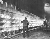1/16/1945Donora PA View of a zinc furnace at the Donora works of the American Steel and Wire Co a subsidiary of US Steel Corp where a mixture of zinc...