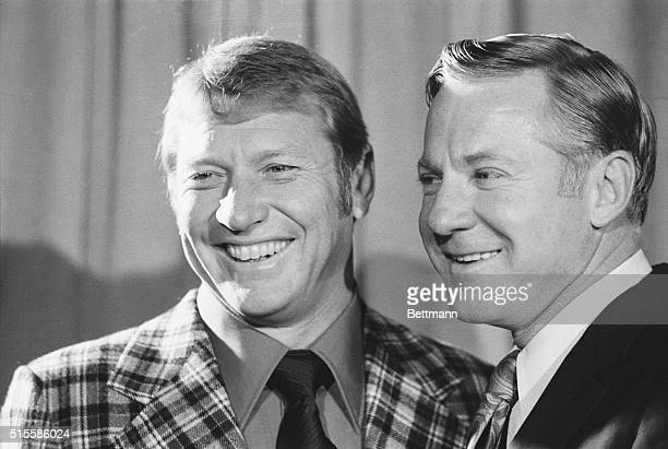 1/16/1974New York NY Mickey Mantle and Whitey Ford teammates on the New York Yankees during the glory years under manager Casey Stengel enjoy the...