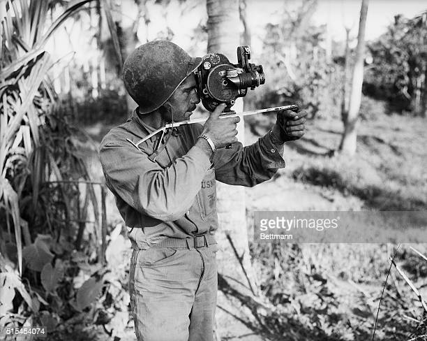 11/8/1944Leyte Philippines Don Senick FoxMovietone Newsreel cameraman on the Leyte front take shots of combat action His home is in San Francisco
