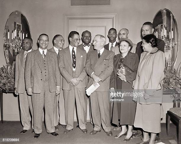 11/8/1950Kansas City MO President Truman stands with a group of Kansas city Negroes who invited him to address the December 27th TriConvention of 3...