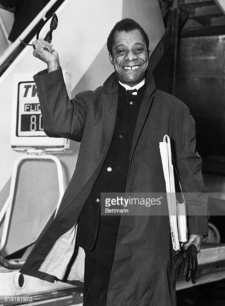 11/9/65New York JF Kennedy International Airport NY Controversial Novelist and Playwright James Baldwin arrives from Paris aboard a TWA Starstream...