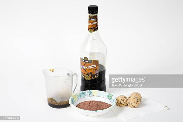Ingredients for the Cookie Dough Ice Cream including Chocolate Extract Cocoa Powder and Sugar Creme de Cacao and Chocolate Chip Cookie Dough Balls at...
