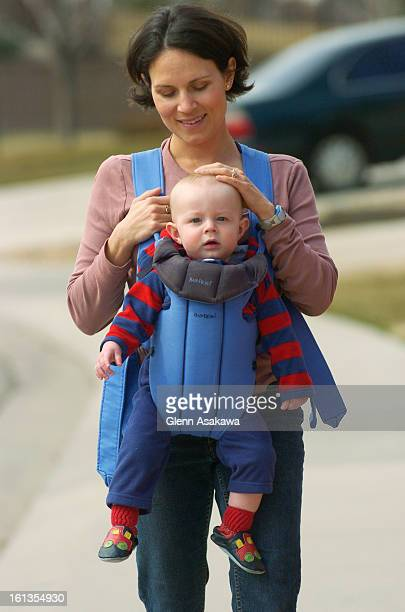 LONGMONT COLORADO MARCH 16 2007 11monthold Brody Mundt takes a walk in the front pack with his mother Heather around the neighborhood of their...