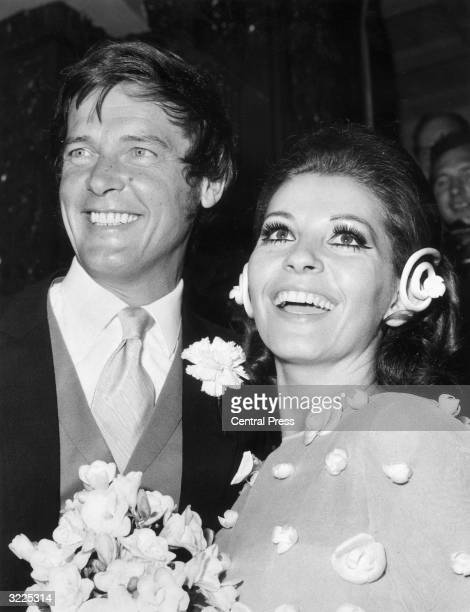 Roger Moore of the television series 'The Saint' with Luisa Mattioli after their wedding at Caxton Hall in London