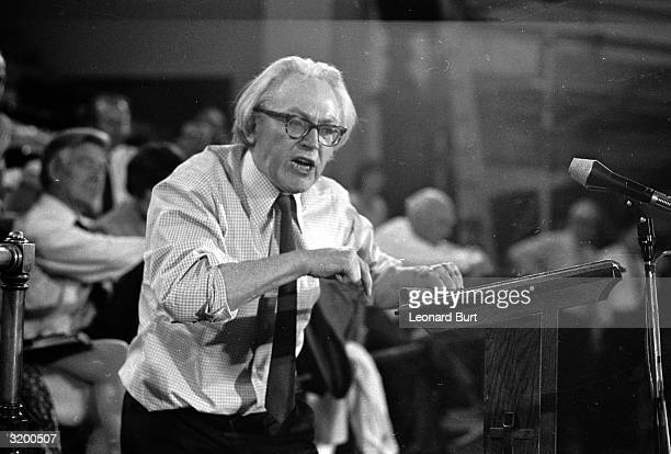 Labour MP Michael Foot at the podium is getting his message across with passion