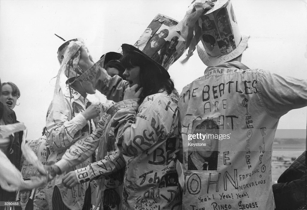 Beatle fans at London Airport, when the Beatles left for their tour of the USA.