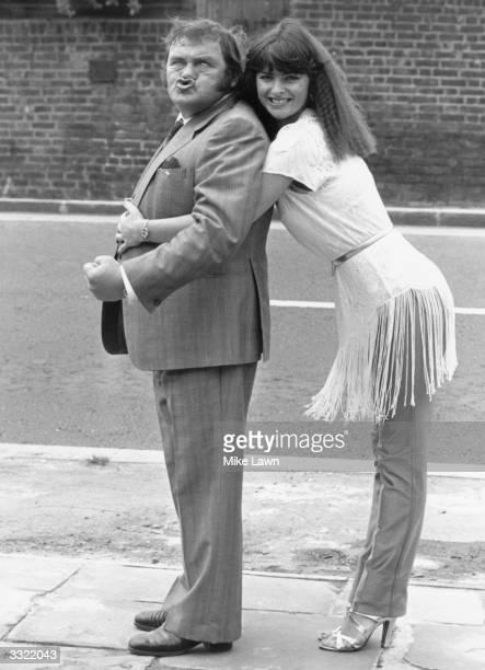 British comedian Les Dawson with 'Crackerjack' girl Jan Michelle