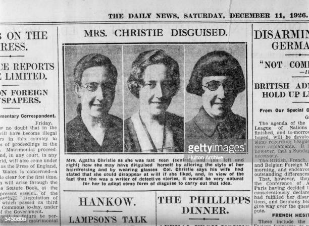 Photographs in The Daily News of detective writer Agatha Christie showing how she may have disguised herself after her disappearance